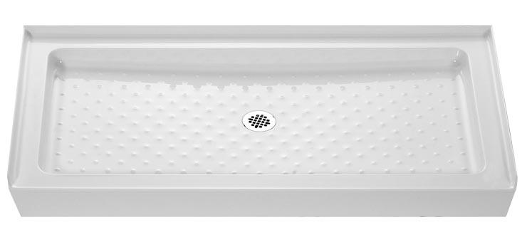 DreamLine SHTR-1130600-00 Shower Tray Center Drain Placement