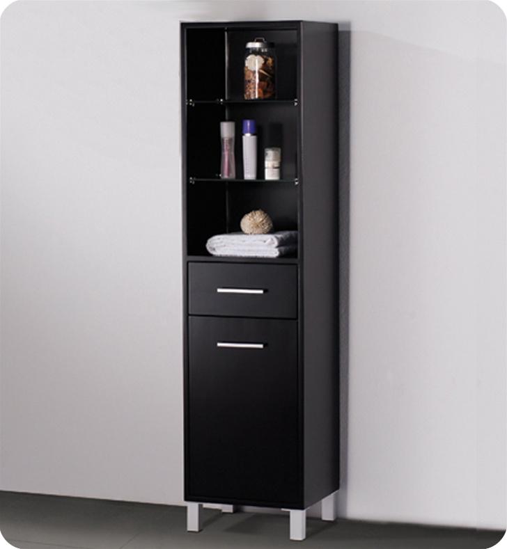 Espresso Bathroom Linen Cabinet 3 Open Shelves