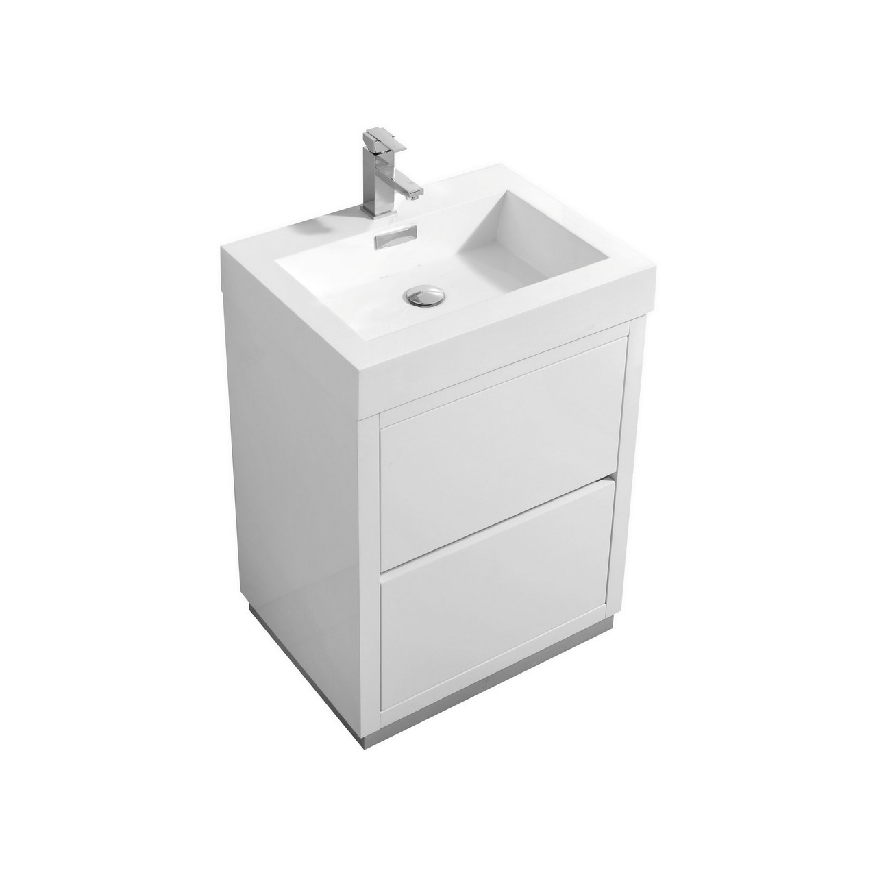 "Modern Lux 24"" High Gloss White Free Standing Modern Bathroom Vanity"