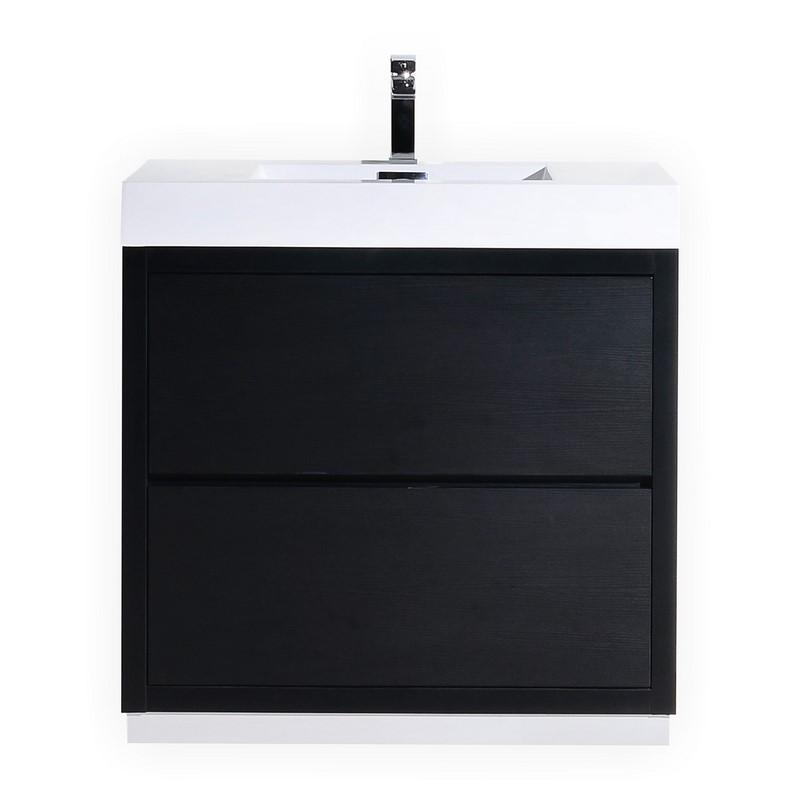 """Modern Lux 36"""" Black Free Standing Modern Bathroom Vanity"""