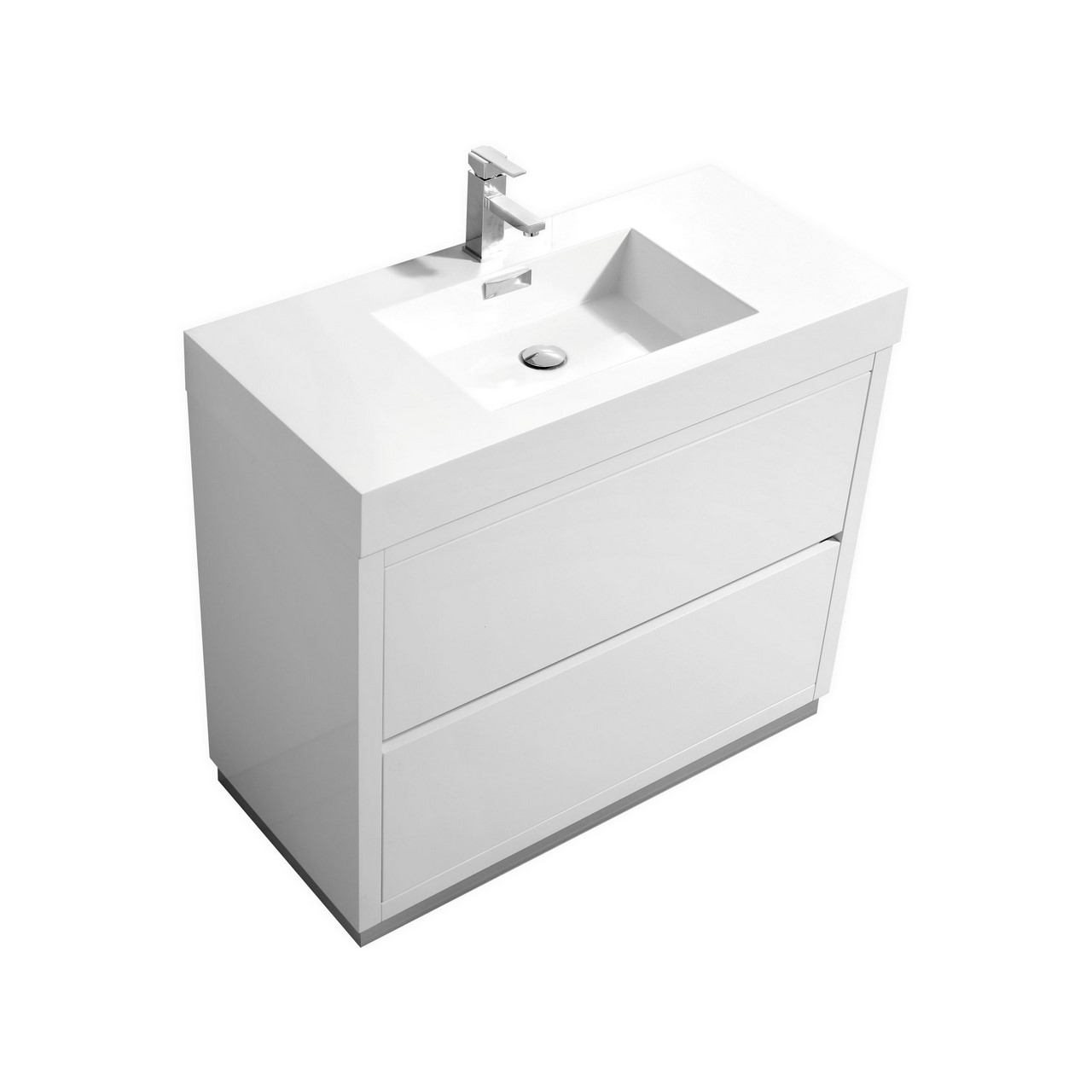 "Modern Lux 40"" High Gloss White Free Standing Modern Bathroom Vanity"