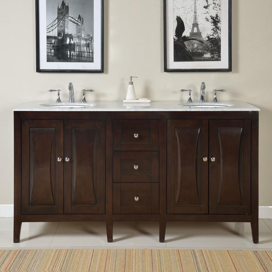 """68"""" Double Sink Cabinet - Carrara White Marble Top, Undermount White Ceramic Sinks (3-hole)"""