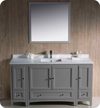 "Oxford 60"" Traditional Bathroom Vanity Gray Finish"