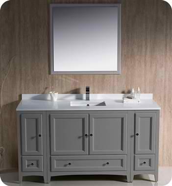 "Oxford 60"" Traditional Bathroom Vanity Gray Finish"