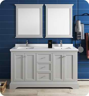 """Windsor 60"""" Gray Textured Traditional Double Sink Bathroom Vanity with Mirrors"""