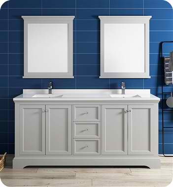 "72"" Gray Textured Traditional Double Sink Bathroom Vanity with Mirrors"