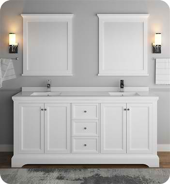 "72"" Matte White Traditional Double Sink Bathroom Vanity with Mirrors"
