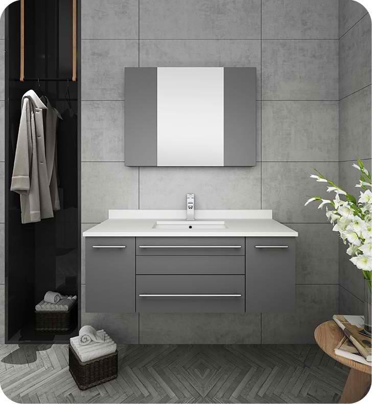 "42"" Gray Wall Hung Undermount Sink Modern Bathroom Vanity with Medicine Cabinet"