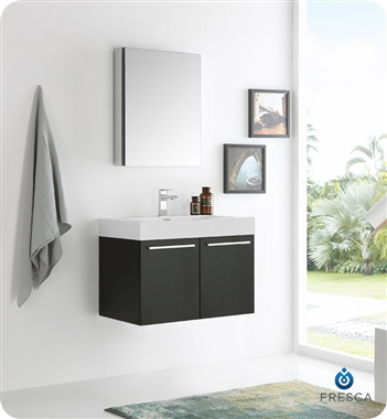 """30"""" Black Wall Hung Modern Bathroom Vanity with Faucet, Medicine Cabinet and Linen Side Cabinet Option"""