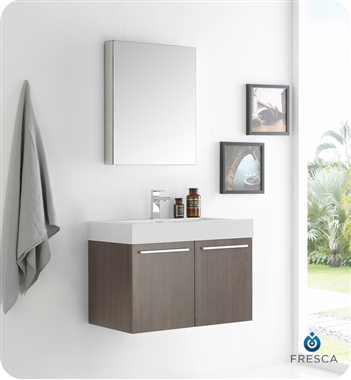 """30"""" Gray Oak Wall Hung Modern Bathroom Vanity with Faucet, Medicine Cabinet and Linen Side Cabinet Option"""
