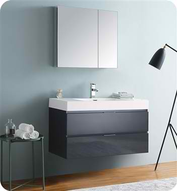 "40"" Wall Hung Modern Bathroom Vanity with Medicine Cabinet, Dark Slate Gray Finish"