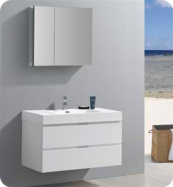 "40"" Wall Hung Modern Bathroom Vanity with Medicine Cabinet, Glossy White Finish"