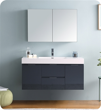 """48"""" Wall Hung Modern Bathroom Vanity with Medicine Cabinet, and Color, Faucet Option"""