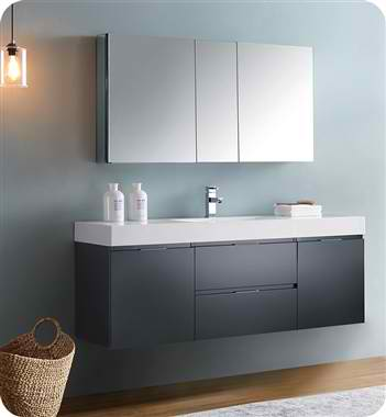 "60"" Wall Hung Modern Bathroom Vanity with Medicine Cabinet, Faucet and Color Option"