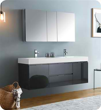 """60"""" Wall Hung Double Sink Modern Bathroom Vanity with Medicine Cabinet, Faucet and Color Option"""