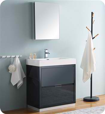 "30"" Free Standing Modern Bathroom Vanity with Medicine Cabinet, Faucets and Color Option"