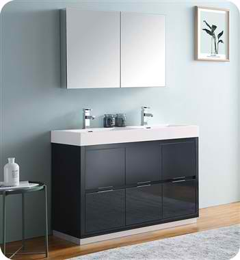 "48"" Free Standing Double Sink Modern Bathroom Vanity with Medicine Cabinet, Faucets and Colors Option"