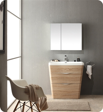 32 inch Modern Bathroom Vanity White Oak Finish