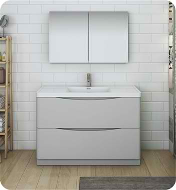 "48"" Free Standing Double Sink Modern Bathroom Vanity with Medicine Cabinet, Faucets and Color Option"