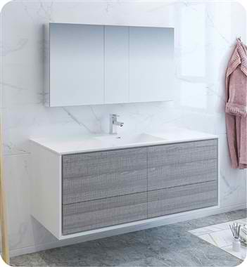 """60"""" Wall Hung Single Sink Modern Bathroom Vanity with Medicine Cabinet, Faucets and Color Options"""