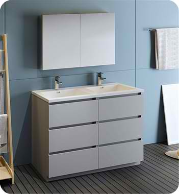 """48"""" Free Standing Double Sink Modern Bathroom Vanity with Medicine Cabinet, Faucets and Color Options"""