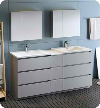 """72""""  Free Standing Double Sink Modern Bathroom Vanity with Medicine Cabinet, Faucets and Color Options"""