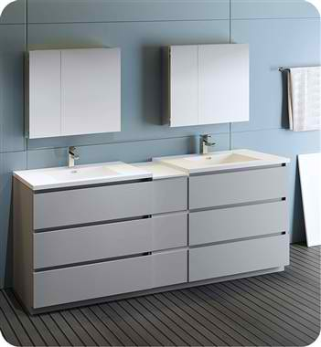 """84"""" Free Standing Double Sink Modern Bathroom Vanity with Medicine Cabinet, Faucet and Color Options"""