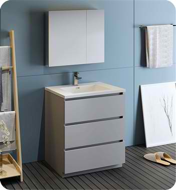 """30"""" Free Standing Modern Bathroom Vanity with Medicine Cabinet, Faucet and Color Options"""