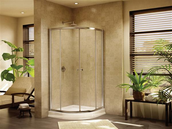 Fleurco Amalfi 36 Round Frameless Curved Glass Sliding Shower Doors