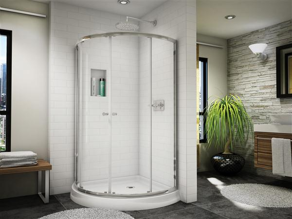 "Fleurco Banyo Amalfi 40"" Arc4 Semi-Frameless Curved Glass Shower Door"