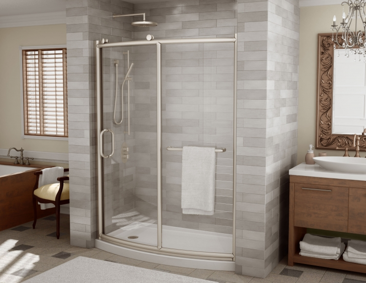 """Fleurco Roma 60"""" x 32"""" Bowfront Curved Door and Panel"""
