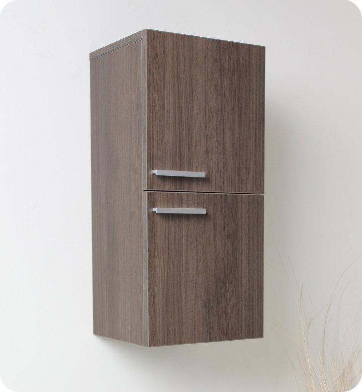 28 inch Gray Oak Bathroom Linen Side Cabinet