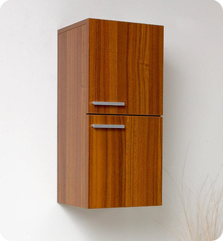 28 inch Teak Bathroom Linen Side Cabinet