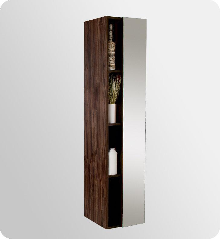 67 inch Walnut Bathroom Linen Side Cabinet