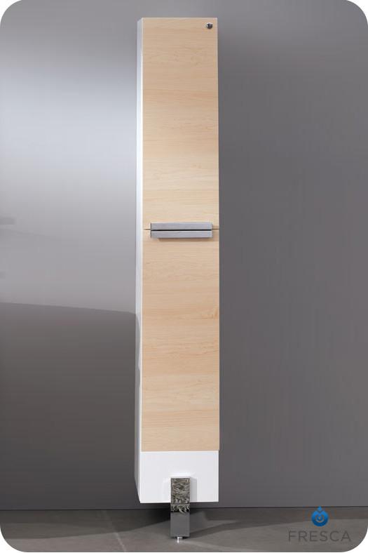 74 inch Light Walnut Bathroom Linen Side Cabinet
