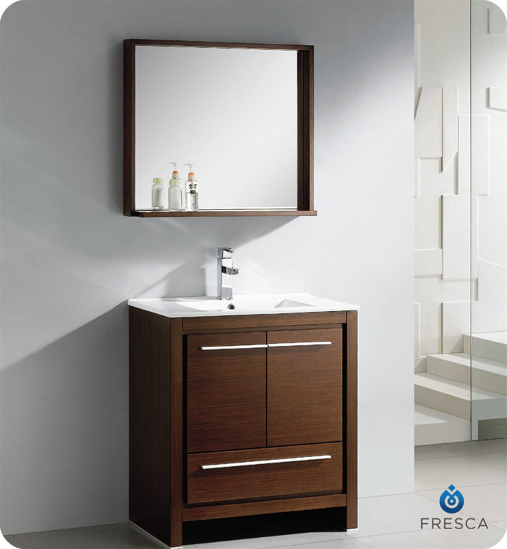 Fresca allier 30 modern bathroom vanity wenge finish for Wenge bathroom mirror