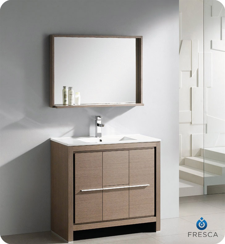 Fresca Allier 36 Modern Bathroom Vanity Grey Oak Finish