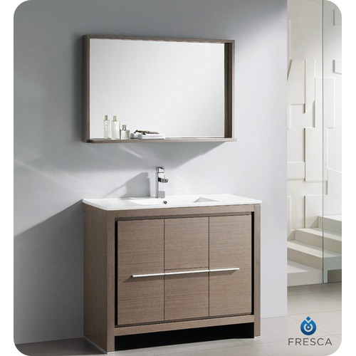 "40"" Modern Bathroom Vanity Grey Oak Finish"
