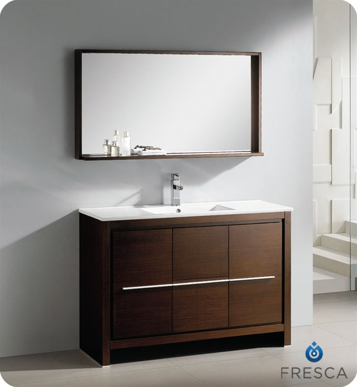 Fresca allier 48 modern bathroom vanity wenge dark brown for Wenge bathroom mirror