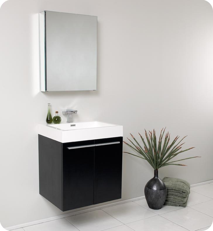 "23"" Black Modern Bathroom Vanity with Faucet, Medicine Cabinet and Linen Side Cabinet Option"