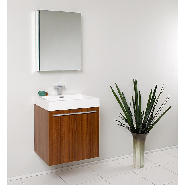 "23"" Teak Modern Bathroom Vanity with Faucet, Medicine Cabinet and Linen Side Cabinet Option"