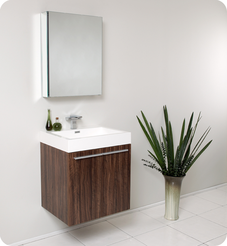 Fresca alto walnut modern bathroom vanity with medicine for Pharmacie de salle de bain