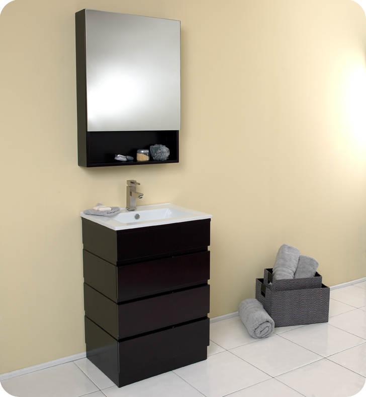 """24"""" Espresso Modern Bathroom Vanity with Medicine Cabinet"""