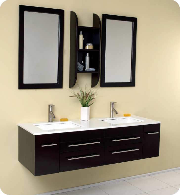 Fresca Bellezza 59 Espresso Modern Double Sink Bathroom Vanity With Faucet And Linen Side