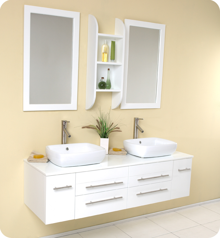 "59"" White Modern Double Vessel Sink Bathroom Vanity with Faucet and Linen Side Cabinet Option"