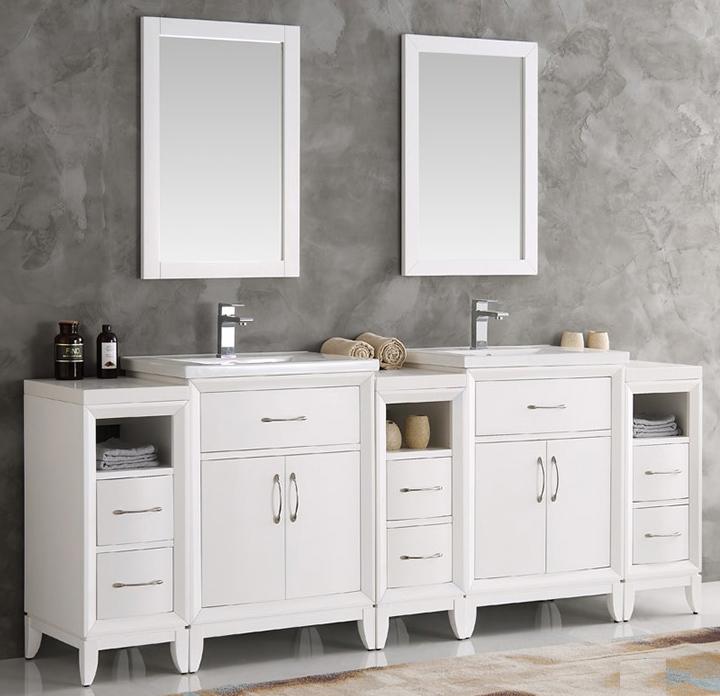 Fresca Cambridge Collection 84 White Double Sink