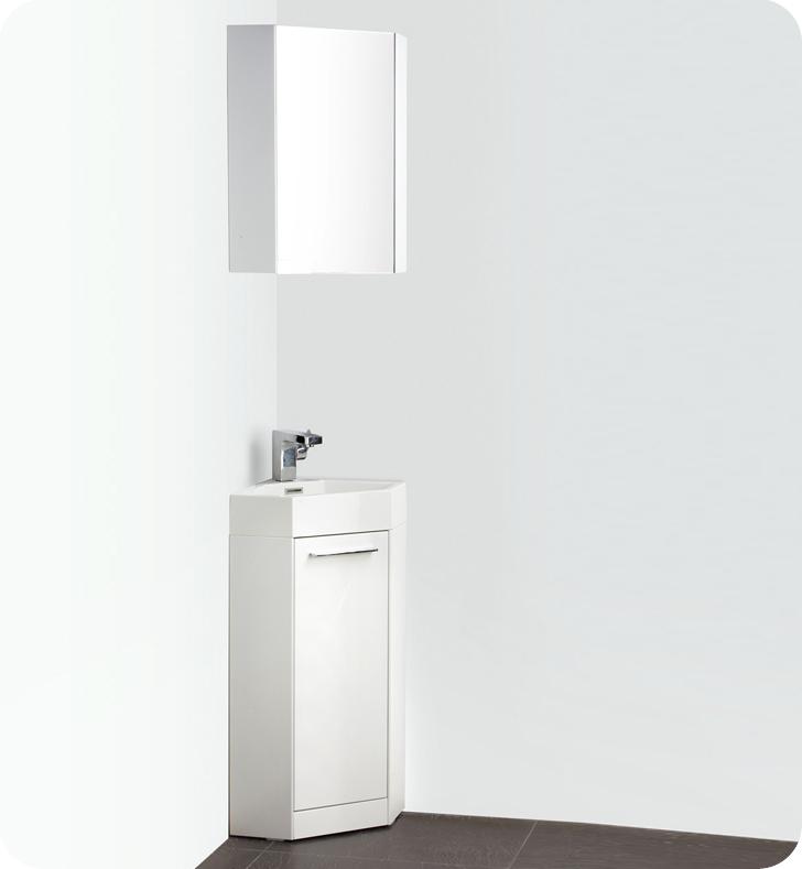 "14"" White Modern Corner Bathroom Vanity with Medicine Cabinet, Faucet and Linen Side Cabinet Option"