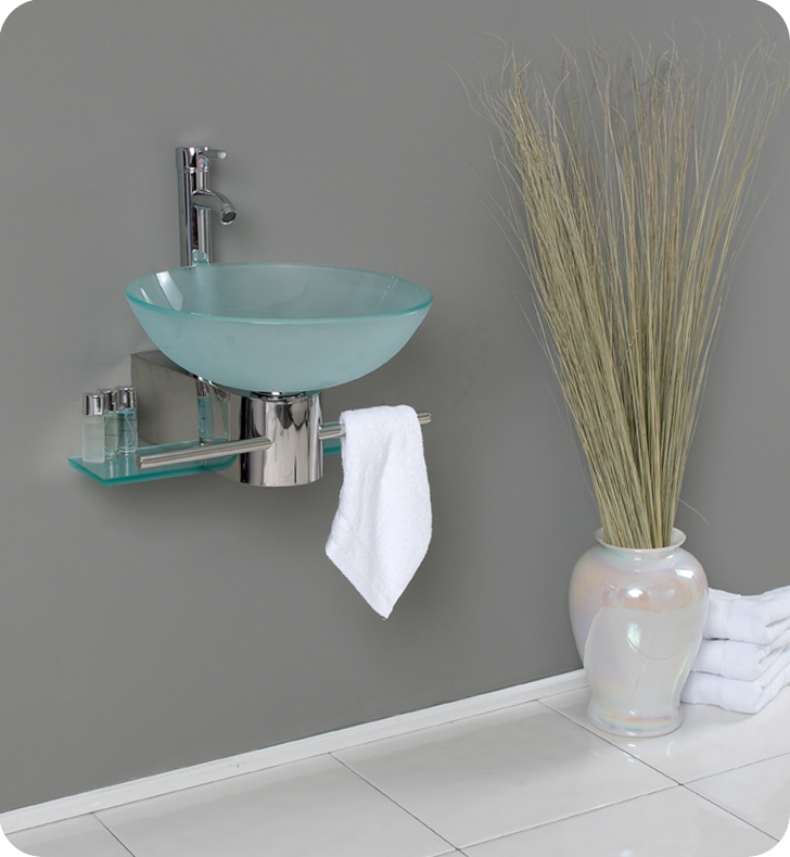 """18"""" Modern Glass Bathroom Vanity with Faucet and Cabinet Option"""