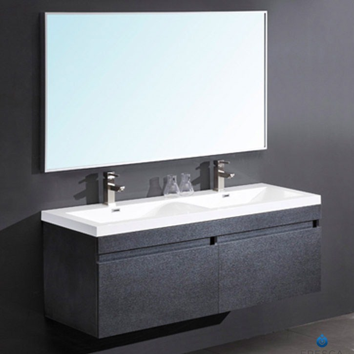 "57"" Black Modern Double Bathroom Vanity with Faucet, Medicine Cabinet and Linen Side Cabinet Option"