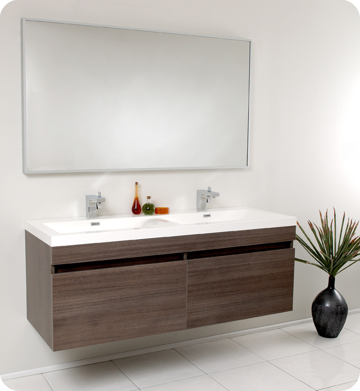 """57"""" Gray Oak Modern Double Bathroom Vanity with Faucet, Medicine Cabinet and Linen Side Cabinet Option"""